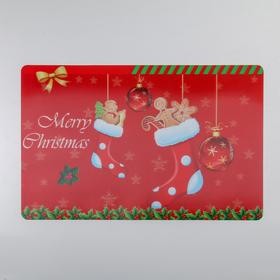 Салфетка кухонная Real 3D «Рождественское настроение», 42×27 см, цвет красный Ош