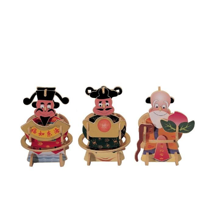Модель деревянная сборная Три китайца