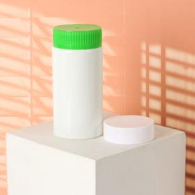 Баночка для хранения, 250 мл, двойная крышка, цвет белый/зелёный Ош