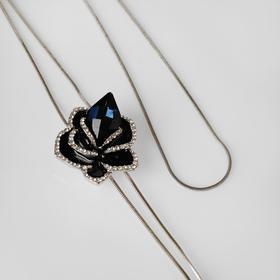 """Кулон """"Цветок"""" роза, цвет чёрно-синий в серебре, 72см"""