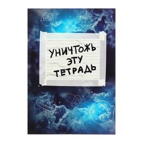 Уничтожь эту тетрадь (А5, 96 стр., УФ-лак, с заданиями, синяя) Ош