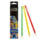 Карандаши 6 цветов «Звёздные войны», шестигранные, заточенные, в картонной коробке с европодвесом