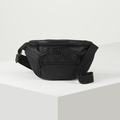Сумка поясная, отдел на молнии, 3 наружных кармана, цвет чёрный - Фото 1