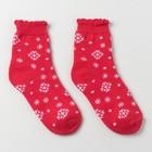 Носки женские махровые, цвет красный, размер 25