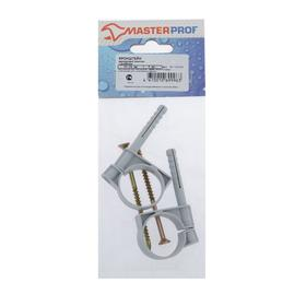 Хомут сантехнический MasterProf, 32-34 мм, пластиковый, с дюбелем, набор 2 шт. Ош