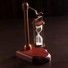 """Песочные часы """"Подвесные"""" латунь, алюминий, дерево, стекло, песок (3мин) 14х9х23 см"""