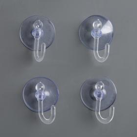 Крючок на вакуумной присоске «Круг», d=2,3 см, цвет прозрачный