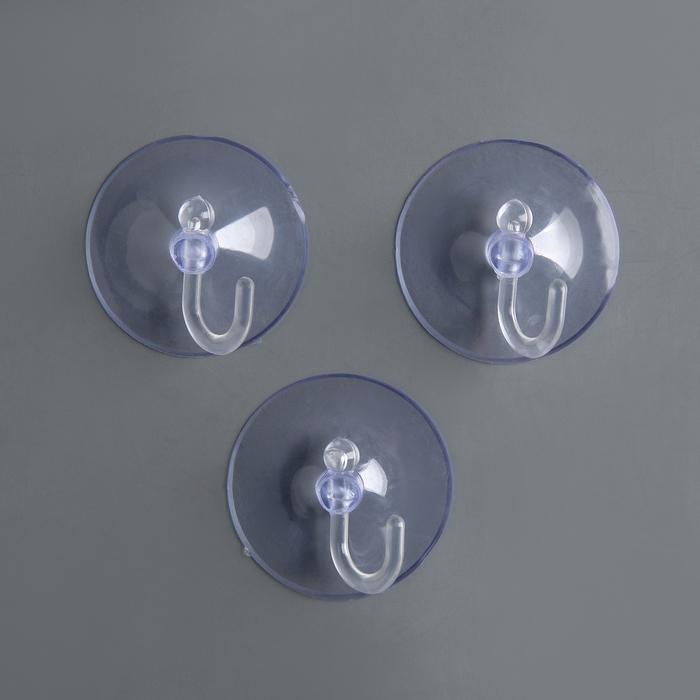 Крючок на вакуумной присоске Круг, d4,2 см, цвет прозрачный
