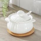 Сахарница Доляна «Эстет, Тюльпан», 350 мл, d=11,5 см, на деревянной подставке, с ложкой - Фото 1
