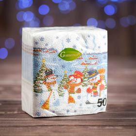 """Новогодние салфетки бумажные """"Гармония цвета многоцветие. Снеговички"""", 24*24 см, 50 листов"""