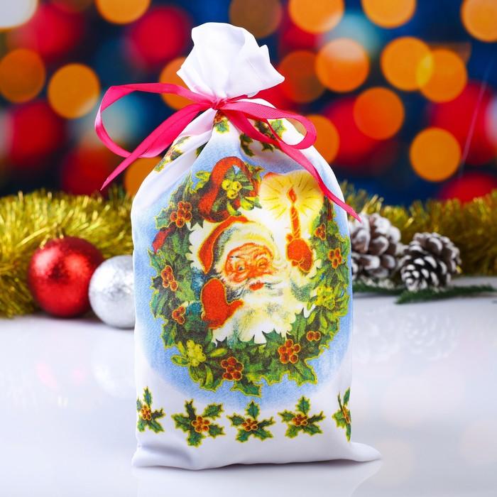 Мешок новогодний Дубовый лист, с лентой, габардин, 16х30 см
