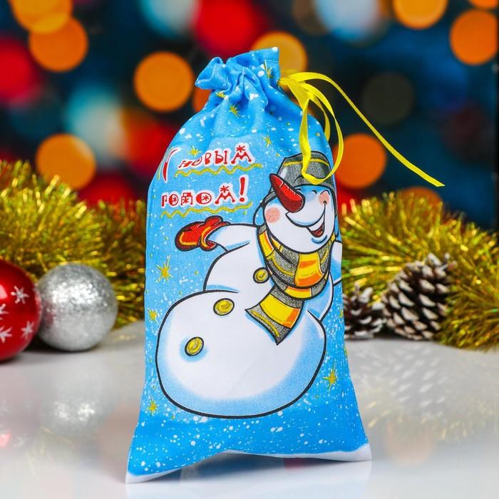 Мешок новогодний Снеговик, с лентой, габардин, 16х30 см