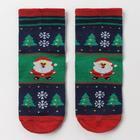 Носки детские «Дед Мороз», цвет зелёный, размер 14 16