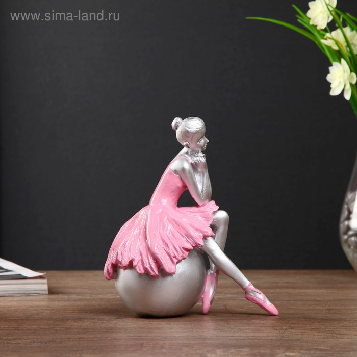 "Сувенир полистоун ""Балерина в розовой пачке на шаре"" 16 см"