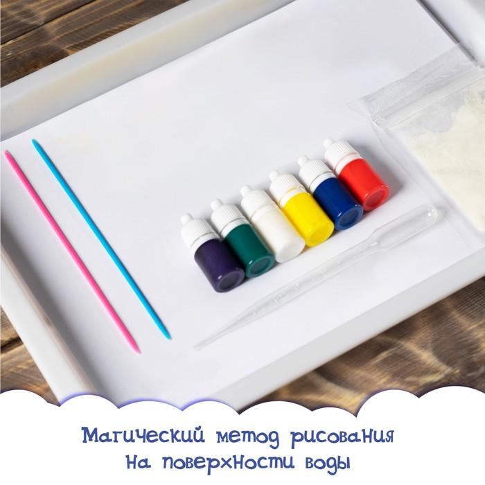 Набор для рисования эбру: краски 6 цв по 6 мл, 10 л бумаги, загуститель 10 г, инструменты, поддон