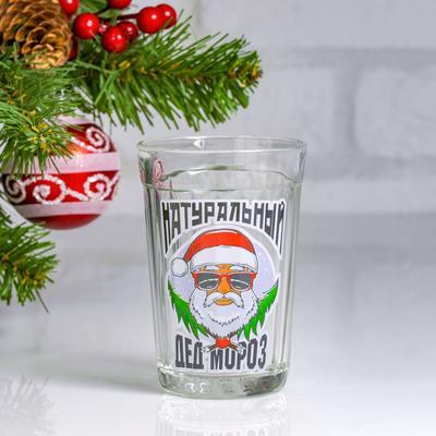 """Стакан гранёный """"Натуральный Дед Мороз"""" ёлочки"""