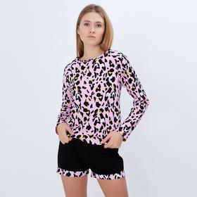Лонгслив женский MINAKU 'Леопард', размер 46, цвет розовый леопард Ош
