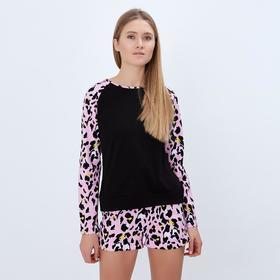 Лонгслив женский MINAKU 'Леопард', размер 52, цвет чёрный/розовый леопард Ош