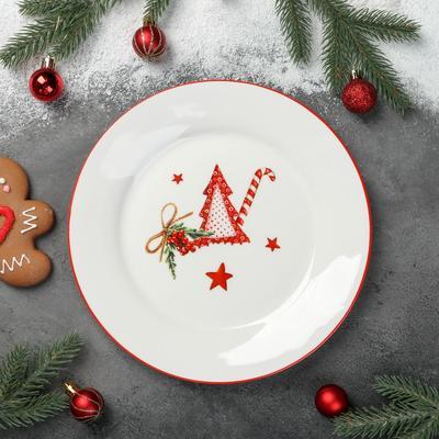 Тарелка обеденная Доляна «Счастливого Нового Года», d=25,3 см - Фото 1
