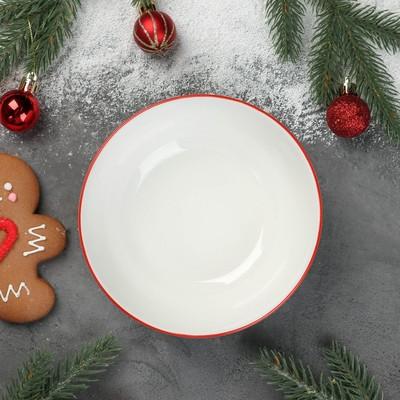 Салатник Доляна «Счастливого Нового Года», 500 мл, 15,2×6,9 см, цвет белый/красный - Фото 1