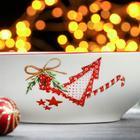 Салатник Доляна «Счастливого Нового Года», 500 мл, 15,2×6,9 см, цвет белый/красный - Фото 4