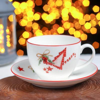Чайная пара Доляна «Счастливого Нового Года», чашка 280 мл, блюдце 15 см - Фото 1
