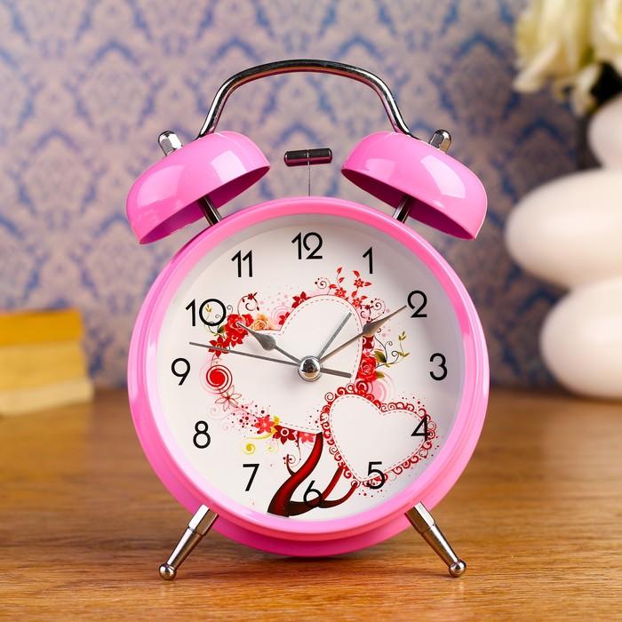 """Будильник """"Amore"""", d=9.8 см, розовый"""