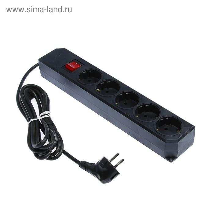 Сетевой фильтр TUNDRA, 5 розеток, 3 м, 10 А, 2200 Вт, ПВС 3х0.75 мм2, с з/к, с выкл., черный