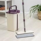 Набор для уборки: ведро с отсеками для полоскания и отжима 10 л, швабра плоская, запасная насадка из микрофибры - Фото 1