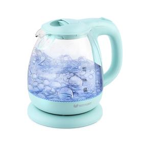 Чайник электрический Kitfort KT-653-1, стекло, 1 л, 1100 Вт, голубой