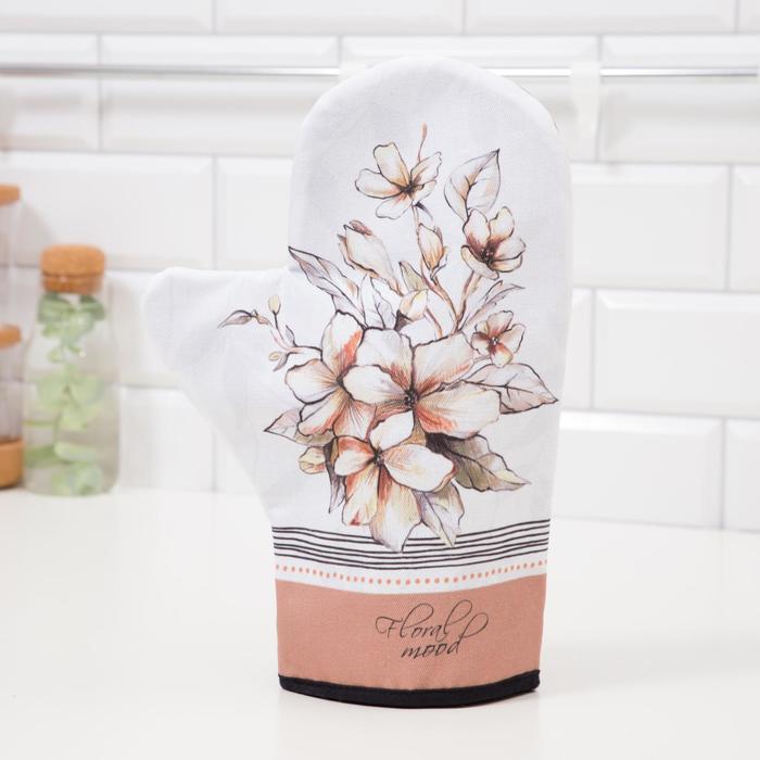 "Варежка-прихватка ""Floral mood"" 20х28см,саржа, 100% х/л, ватин 250г/м2"