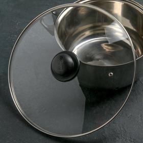 Крышка для сковороды и кастрюли стеклянная JARKO, d=32 см, с пластиковой ручкой