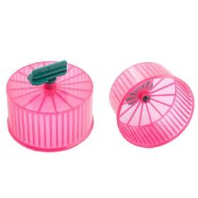 Колесо для грызунов полузакрытое пластиковое прозрачное, без подставки, 9 см, микс цветов Ош