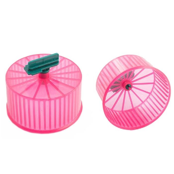 Колесо для грызунов полузакрытое пластиковое прозрачное, без подставки, 9 см, микс цветов