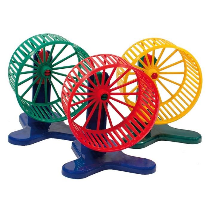 Колесо для грызунов пластиковое, с подставкой, 9 см, микс цветов