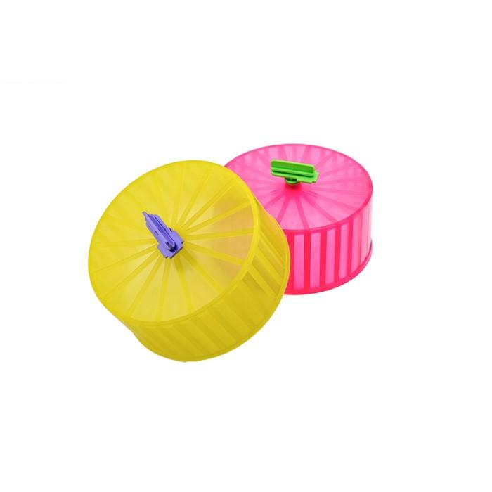 Колесо для грызунов полузакрытое пластиковое матовое, без подставки, 14 см, микс цветов