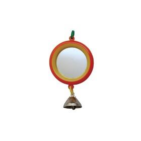 Зеркало 'Круг' с колокольчиком, для птиц, 7 см, микс цветов Ош