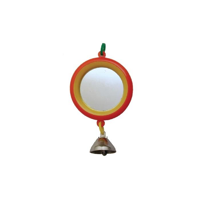 """Зеркало """"Круг"""" с колокольчиком, для птиц, 7 см, микс цветов"""