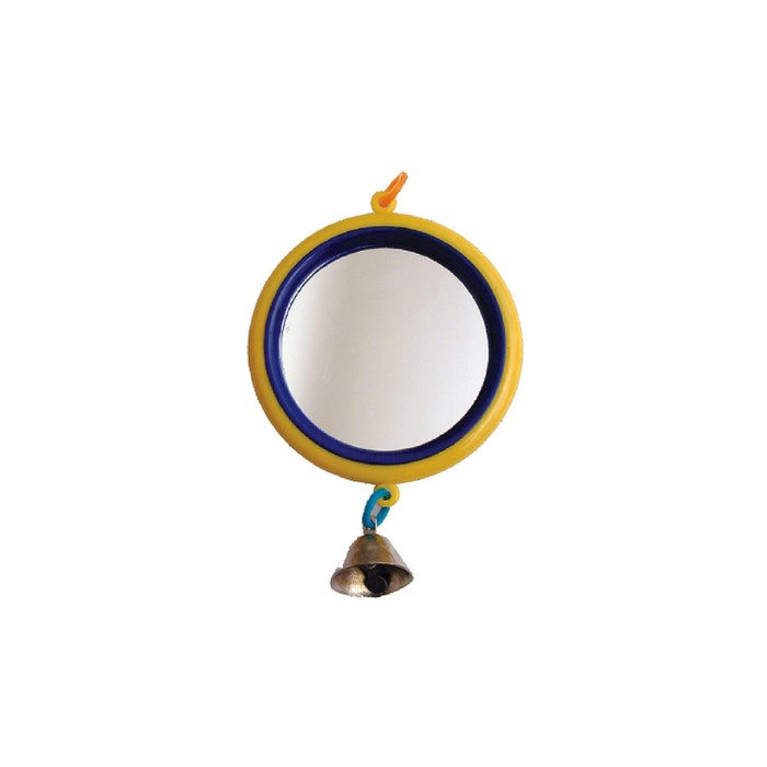 """Зеркало """"Круг"""" большое с колокольчиком, для птиц, 9 см, микс цветов"""