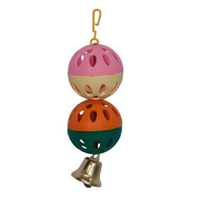 Игрушка для птиц 2 шарика с колокольчиком, микс цветов Ош