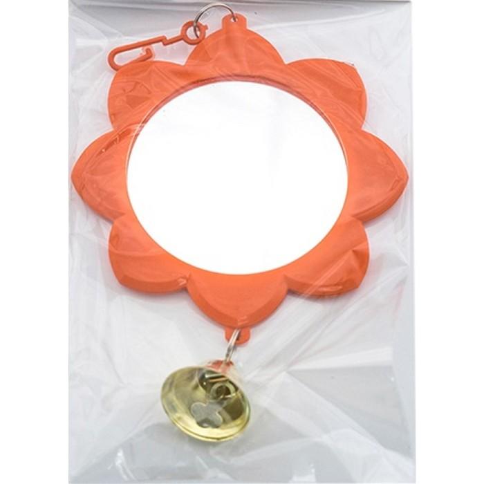 """Зеркальце """"Солнышко"""" с колокольчиком, для птиц, 7 см, микс цветов"""