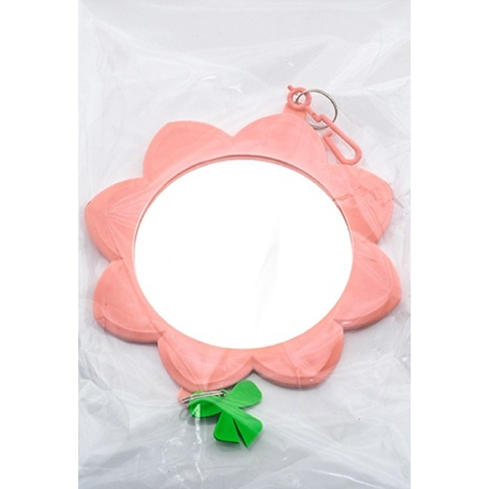 """Зеркальце """"Солнышко"""" с пластиковым подвесом, для птиц, 7 см, микс цветов"""