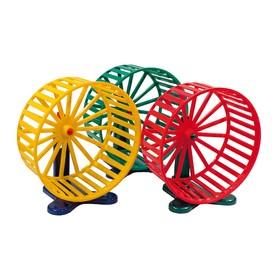 Колесо для грызунов пластиковое, с подставкой, 14 см, микс цветов Ош