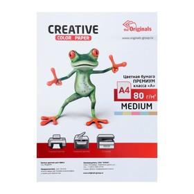 Бумага цветная А4, 100 листов «Креатив» Медиум, 5 цветов, 80 г/м²