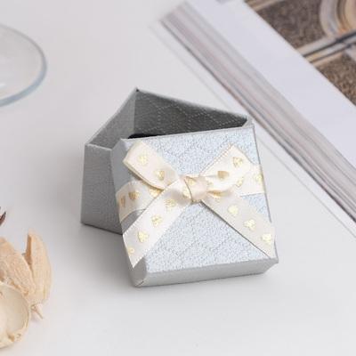 """Коробочка подарочная под кольцо """"Влюбленность"""", 5*5 (размер полезной части 4,5х4,5см), цвет серебристо-бежевый"""