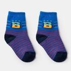 Носки детские махровые в полоску, цвет синий, р-р 15-16 (2-4 года)