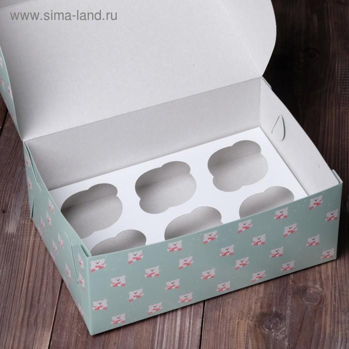 """Коробка на 6 капкейков """"Мишки"""", 25 х 17 х 10 см"""