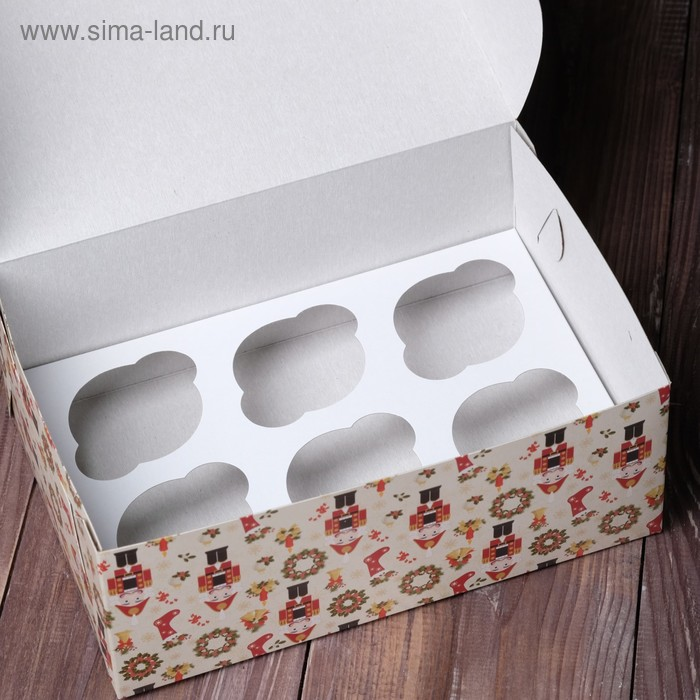 """Коробка на 6 капкейков """"Щелкунчик"""", 25 х 17 х 10 см"""