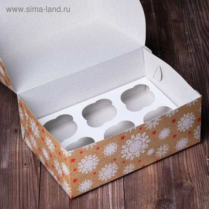 """Коробка на 6 капкейков """"Снежинки"""", 25 х 17 х 10 см"""