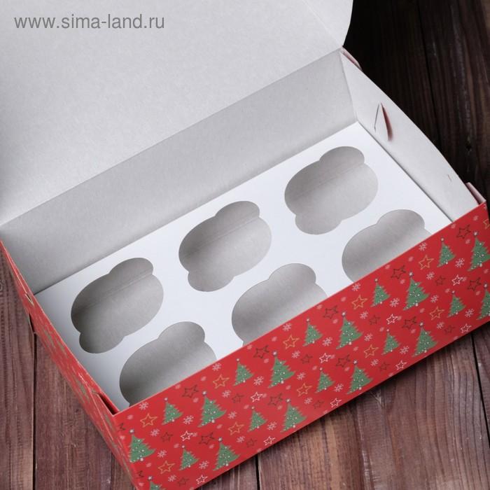 "Коробка на 6 капкейков ""Ёлки красные"", 25 х 17 х 10 см"